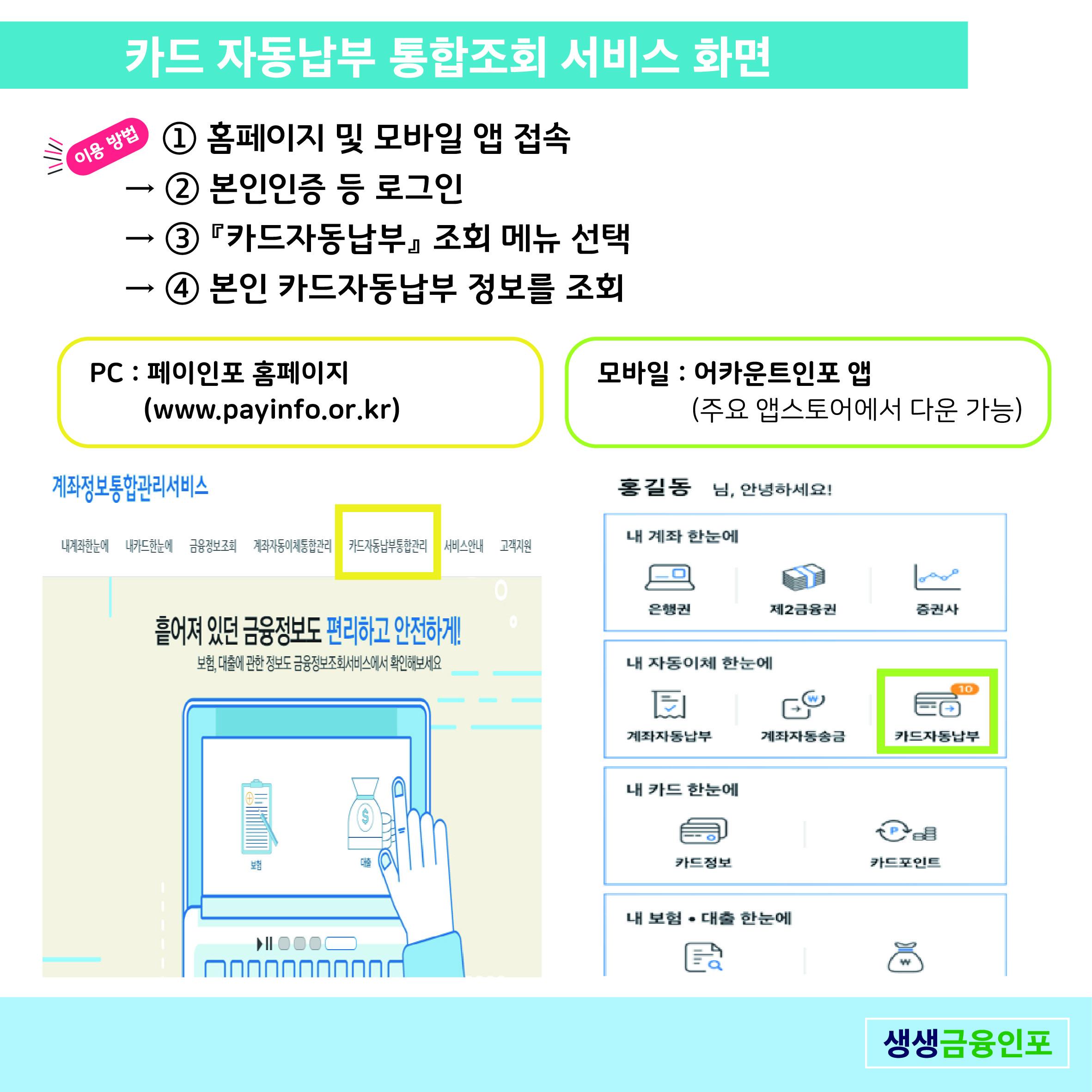 카드 자동납부 통합조회 서비스 화면 이용방법 1. 홈페이지 및 모바일 앱 접속(PC : 페이인포 홈페이지 www.payinfo.or.kr, 모바일 : 어카운트인포 앱, 주요 앱스토어에서 다운 가능) 2. 본인인증 등 로그인 3. 카드자동납부 조회 메뉴 선택 4. 본인 카드자동납부 정보를 조회